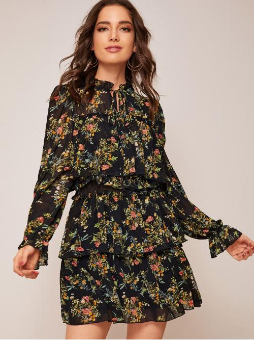 Boho A Line Floral Layered/Tiered Regular Fit Stand Collar Long Sleeve Flounce Sleeve High Waist Multicolor Short Length Frill Tie Neck Layered Ruffle Hem Floral Print Chiffon Dress with Lining