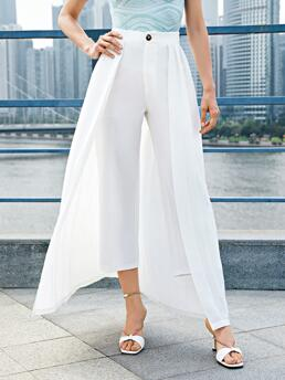 Clearance White High Waist Zipper Straight Leg Solid Cropped Pants with Skirt