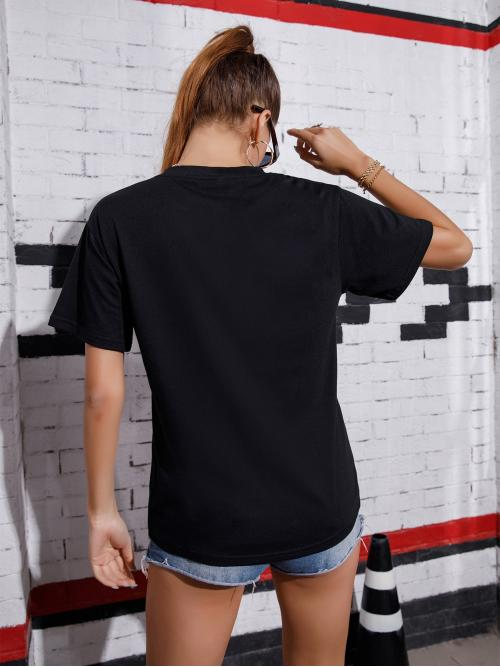 Short Sleeve Cotton Graphic Black Motorcycle and Tee Sale