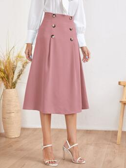 Dusty Pink Natural Waist Zipper a Line Double Breasted Solid Skirt Shopping