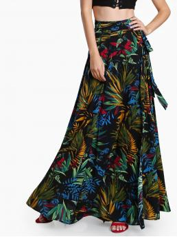 Clearance Multicolor High Waist Belted a Line Self Tie Wrap Skirt