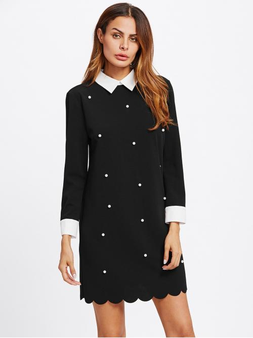 Sale Black Plain Contrast Collar Collar Faux Pearl Beadinged Scallop Dress