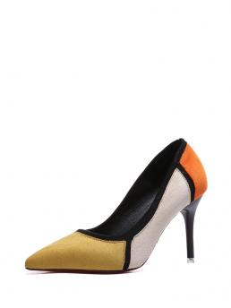 Suede Multicolor Court Pumps Studded Pointed Toe Color Block Heels Beautiful