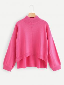 Trending now Long Sleeve Pullovers Asymmetrical Shearling Neon Stepped Hem Solid Sweater