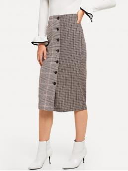 Elegant Straight Plaid High Waist Grey Long/Full Length Button Front Plaid Skirt