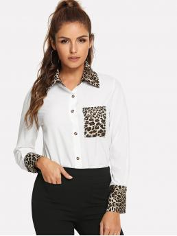 Casual Leopard Shirt Regular Fit Collar Long Sleeve Placket White Regular Length Contrast Leopard Print Blouse