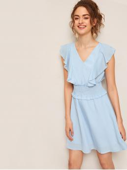 Cute and Boho Plain Flared Regular Fit V neck Sleeveless High Waist Blue and Pastel Short Length Ruffle Trim Shirred Waist Solid Dress with Lining