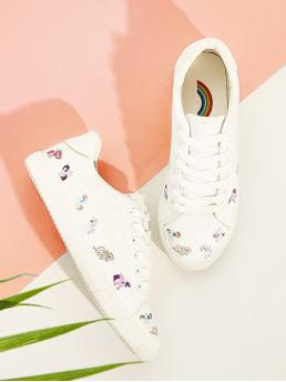 Comfort Round Toe White Unicorn Print Lace-up Front Sneakers
