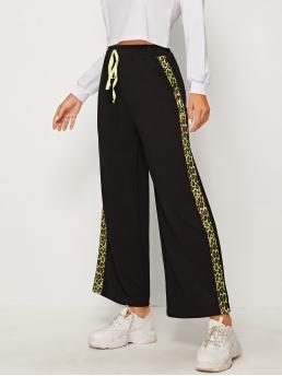 Sporty Leopard Wide Leg Loose Drawstring Waist and Elastic Waist High Waist Black Cropped Length Contrast Neon Leopard Tape Side Pants