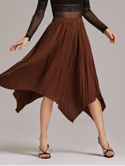 Elegant Pleated Plain Mid Waist Brown Midi Length Premium Pleated Hanky Hem Solid Skirt