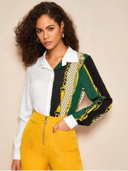 Casual Chain Print Shirt Regular Fit Collar Long Sleeve Regular Sleeve Placket Multicolor Regular Length Cut And Sew Chain Print Button Front Blouse