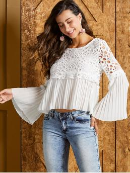 Boho Plain Pleated Top Regular Fit Round Neck Long Sleeve Flounce Sleeve Pullovers White Regular Length SBetro Guipure Lace Overlay Pleated Panel Top with Lining
