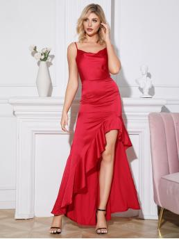 Glamorous Cami Plain Asymmetrical Regular Fit Spaghetti Strap Sleeveless High Waist Red and Bright Long Length Double Crazy Asymmetrical Ruffle Hem Satin Cami Dress