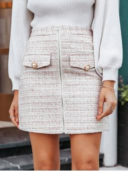 Elegant Straight Plaid High Waist Multicolor Above Knee/Short Length Simplee Zip Up Buttoned Tweed Skirt