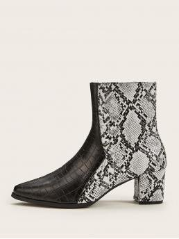 Glamorous Other Snakeskin Print No zipper Multicolor Chunky Point Toe Animal Scarf Print Chunky Boots