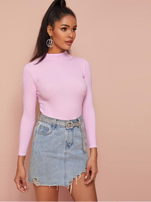 Casual Plain Basic Tops Slim Fit Stand Collar Long Sleeve Regular Sleeve Pullovers Pink Regular Length Ribbed Knit Mock Neck Solid Sweater
