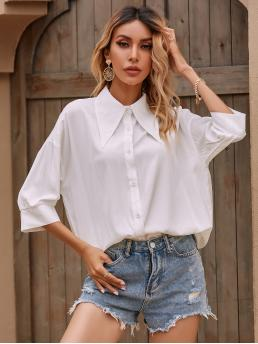 Fashion Three Quarter Length Sleeve Shirt Button Front Cotton Blends Solid Blouse