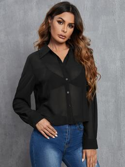 Ladies Long Sleeve Shirt Button Polyester See through Front Blouse Without Bra