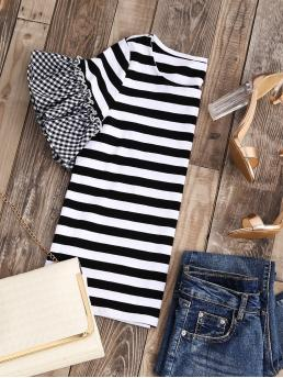 Cute Striped and Gingham Regular Fit Round Neck Short Sleeve Flounce Sleeve Black and White Striped T-shirt With Gingham Ruffle Sleeve