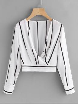 Casual Striped Top Regular Fit Long Sleeve Black and White Plunging Surplice Shirred Crop Top