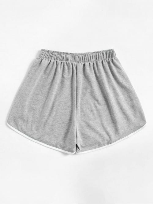 Shopping Light Grey Natural Waist Plain Sporty Grey Dolphin Shorts