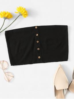Casual Bandeau Plain Slim Fit Strapless Black Crop Length Single Breasted Tube Top