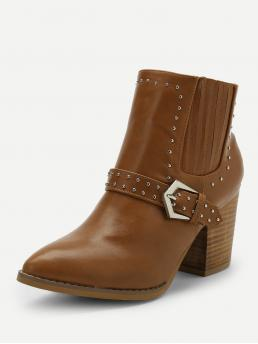 Polyester Camel Chelsea Boots Studded Rivet Detail Buckle Side Western Ankle Heeled Boots on Sale