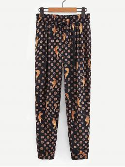 Casual Tapered/Carrot Animal Loose Elastic Waist Mid Waist Multicolor Cropped Length Tiger Print Drawstring Pants