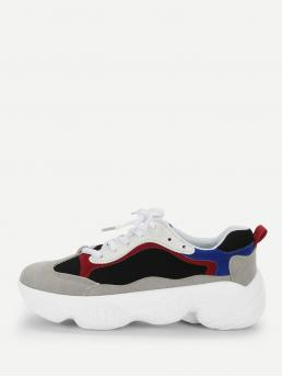 Comfort Round Toe Black Colorblock Lace-up Chunky Sneakers