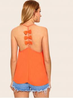 Sexy Halter Plain Regular Fit Spaghetti Strap Orange and Bright Regular Length Neon Orange Bow Back Cami Top