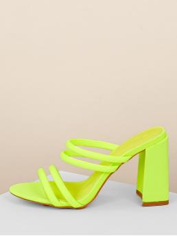 Glamorous Green and Bright Chunky Neon Chunky Heel Strappy Mule Sandals