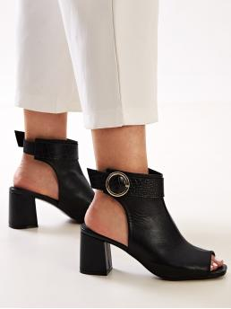Business Casual Other No zipper Black Mid Heel Chunky Peep Toe Buckle Strap Chunky Boots