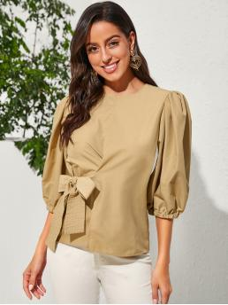Casual Plain Top Regular Fit Round Neck Three Quarter Length Sleeve Pullovers Khaki Regular Length Solid Tie Side Bishop Sleeve Blouse