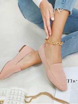 Dusty Pink Loafers Square Toe Nubuck Faux Pointed Toe Ballerina Flats on Sale