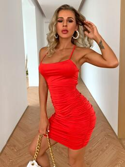Shopping Red Plain Tie Back Spaghetti Strap Neon Lace up Dress