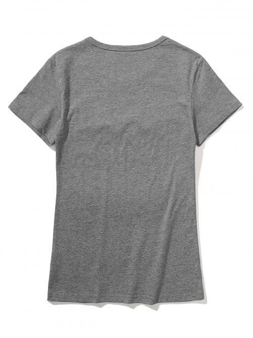 Short Sleeve Cotton Figure Grey and Floral Print Tee Shopping