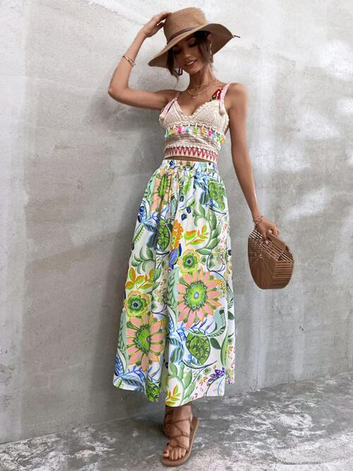 Multicolor High Waist Knot Flared Knotted Skirt Cheap