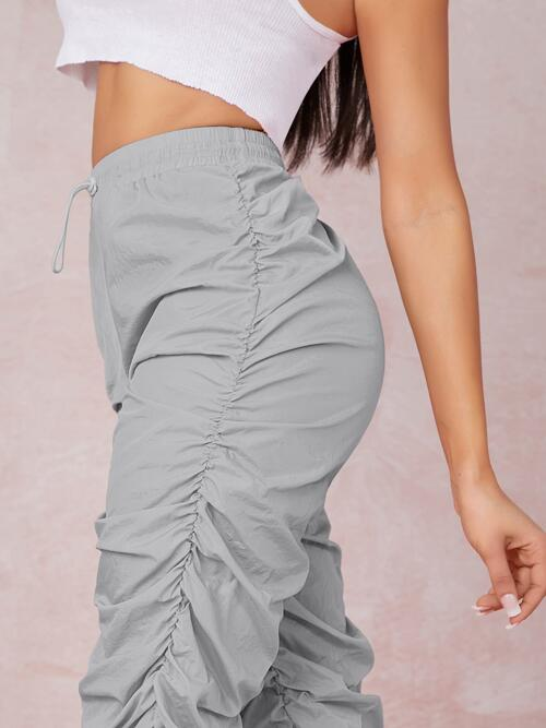 Light Grey High Waist Ruched Plain Toggle Windbreaker Joggers Affordable