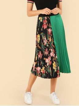 Boho Pleated Floral and Colorblock Mid Waist Multicolor Midi Length Cut And Sew Pleated Skirt