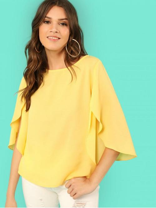 Half Sleeve Top Split Polyester Top Shopping