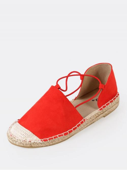Women's Red Rubber Closed Toe Espadrille Flat