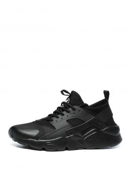 Sporty Black Lace Up Mesh Trainers