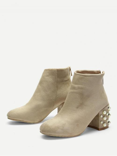 Corduroy Khaki Stretch Boots Pearls Faux Pearl Decorated Pretty