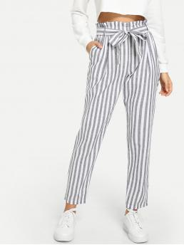 Casual Striped Regular Mid Waist Grey Cropped Length Vertical Striped Paperbag Belted Pants with Belt
