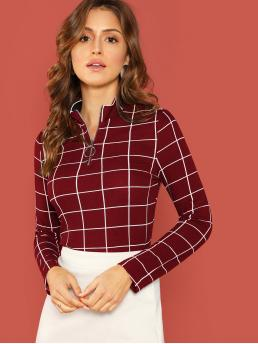 Elegant Plaid Top Slim Fit Long Sleeve Half Placket Burgundy Regular Length O-ring Half Zip Grid Top