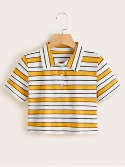 Casual Striped Regular Fit Collar Short Sleeve Half Placket Multicolor Crop Length Striped Polo Neck Tee