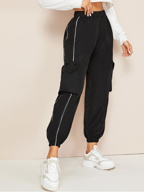 Casual Cargo Pants Loose Elastic Waist High Waist Black Cropped Length Contrast Piping Trim Side Pockets Cargo Pants