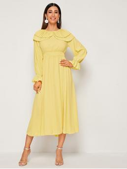 Romantic A Line Plain Flared Regular Fit Round Neck Long Sleeve Bishop Sleeve High Waist Yellow and Bright Long Length Double Layer Pleated Ruffle Trim Lantern Sleeve Dress