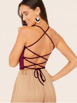 Sexy Cami Plain Slim Fit Halter Top Burgundy Crop Length Lace Up Back Satin Cami Top
