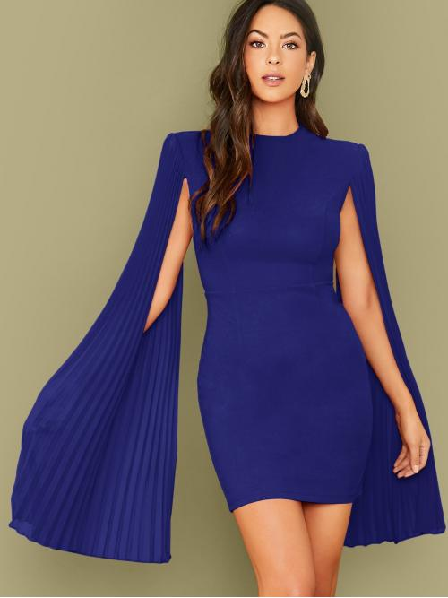 Glamorous Fitted Plain Pencil Regular Fit Round Neck Long Sleeve Cloak Sleeve High Waist Blue Short Length Fitted Pleated Cape Dress